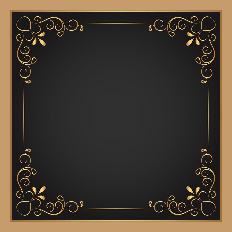 guld dekorativ blommig fyrkantig ram vektor