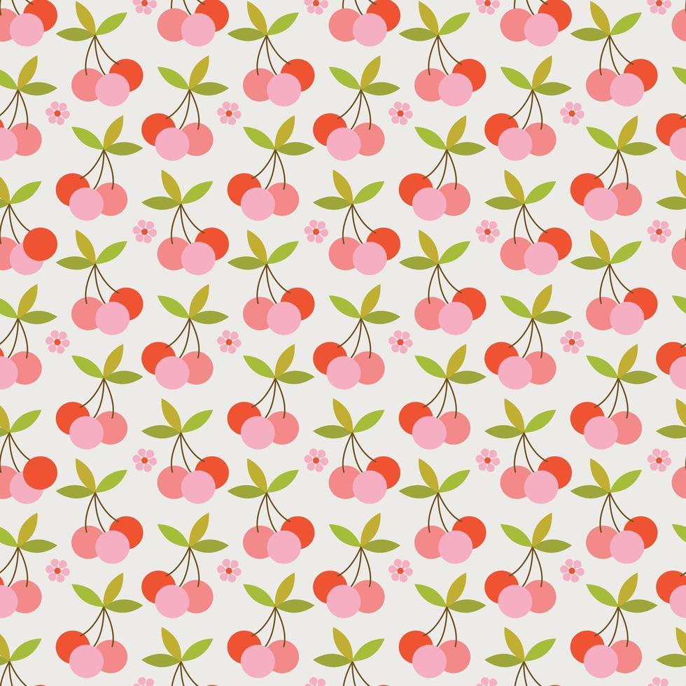 retro körsbär sömlösa mönster vektor