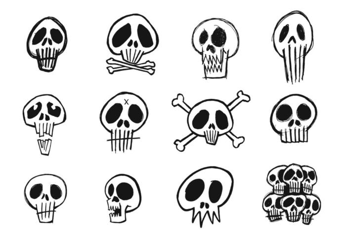 Sketchy Skull Vektor Pack