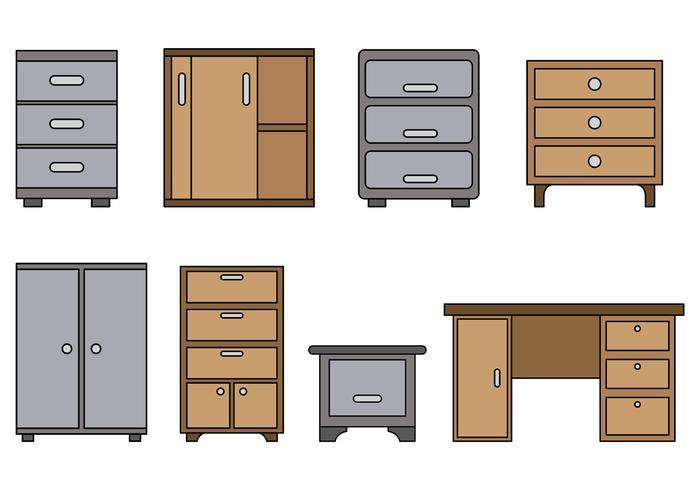 Set von File Cabinet Vector
