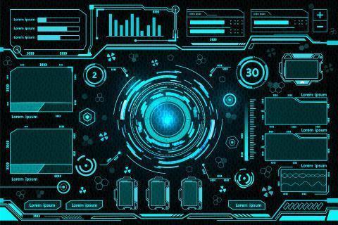 blå futuristisk kontrollpaneldesign vektor