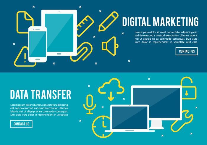 Gratis digital marknadsföring och dataöverföring vektorbakgrund vektor