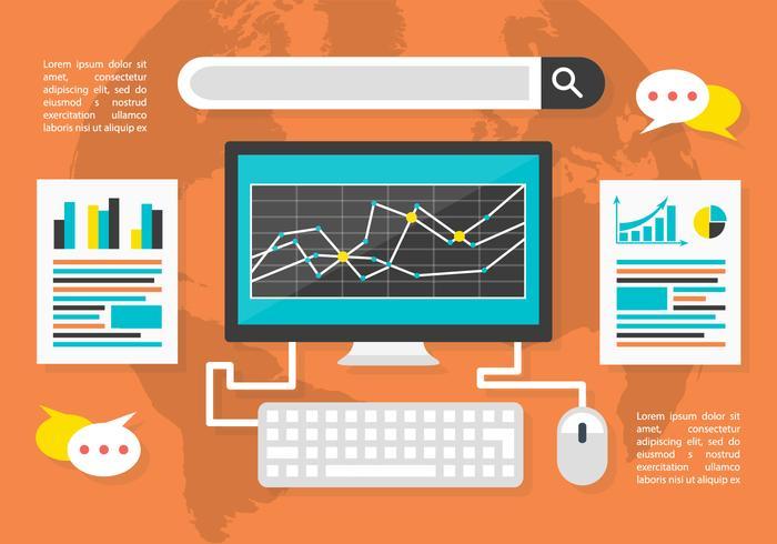 Gratis Flat Digital Marketing Vector Bakgrund