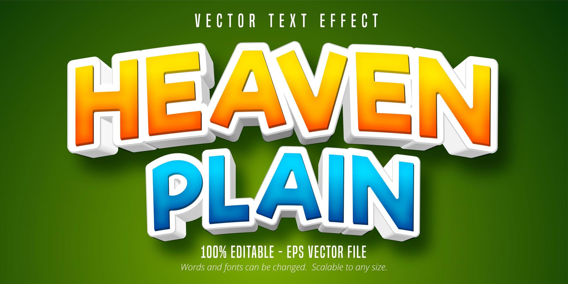 Himmel vanlig orange och blå gradient text effekt vektor