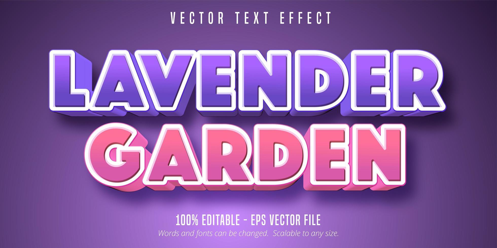lavendel trädgård lila och rosa fet text effekt vektor