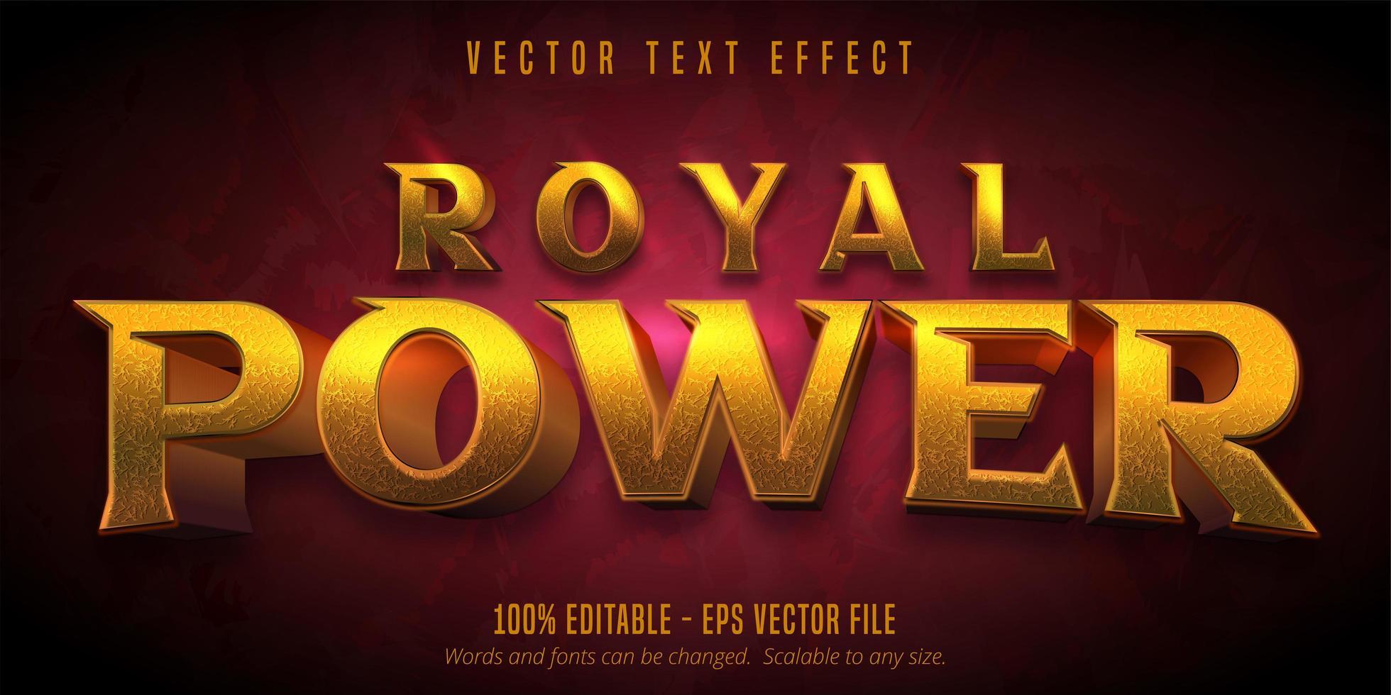 kunglig kraft gyllene texturerad texteffekt vektor