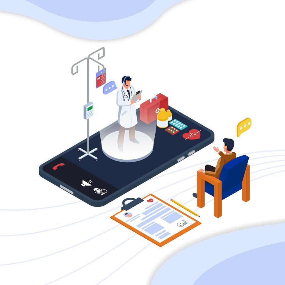 Online-Kommunikation mit dem Arzt vektor