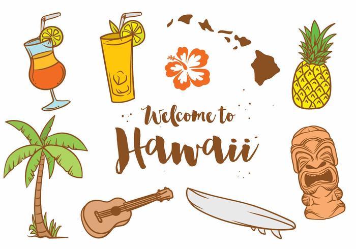 Hawaii Icon Vektor Set