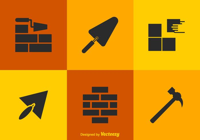 Free vector bricklayer tools icons