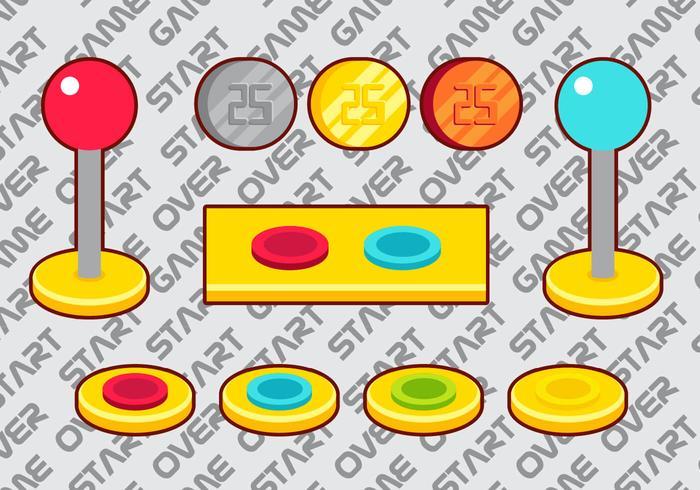 Arcade-Taste Vektor-Elemente gesetzt a vektor