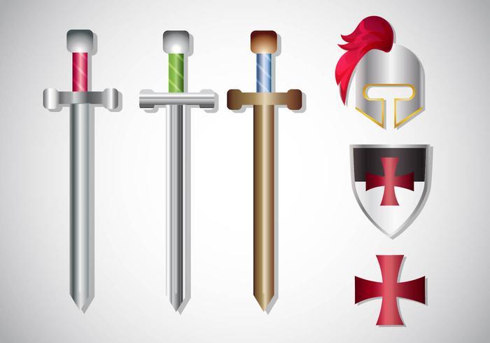 Templar ridder gradient vektor uppsättning