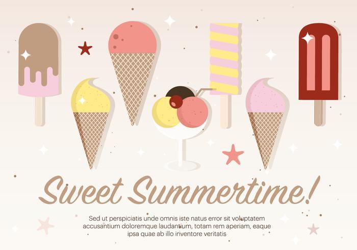 Gratis Flat Ice Cream Vector Illustration