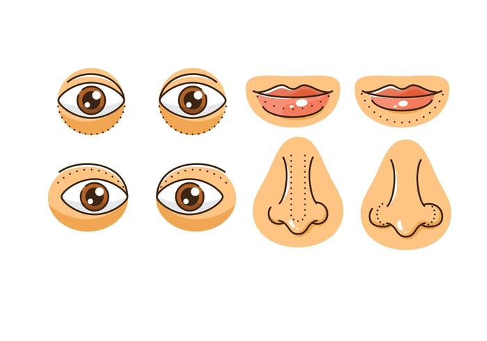 Plastikkirurgiska ikoner vektor