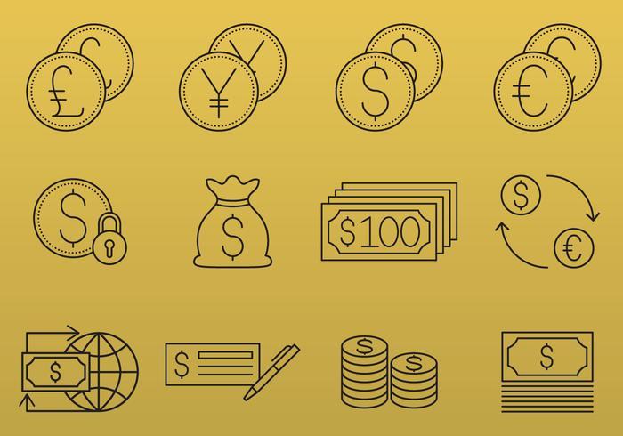 Pengar och valuta ikoner vektor