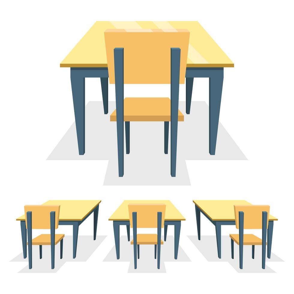 skolskrivbord isolerad på vit bakgrund vektor