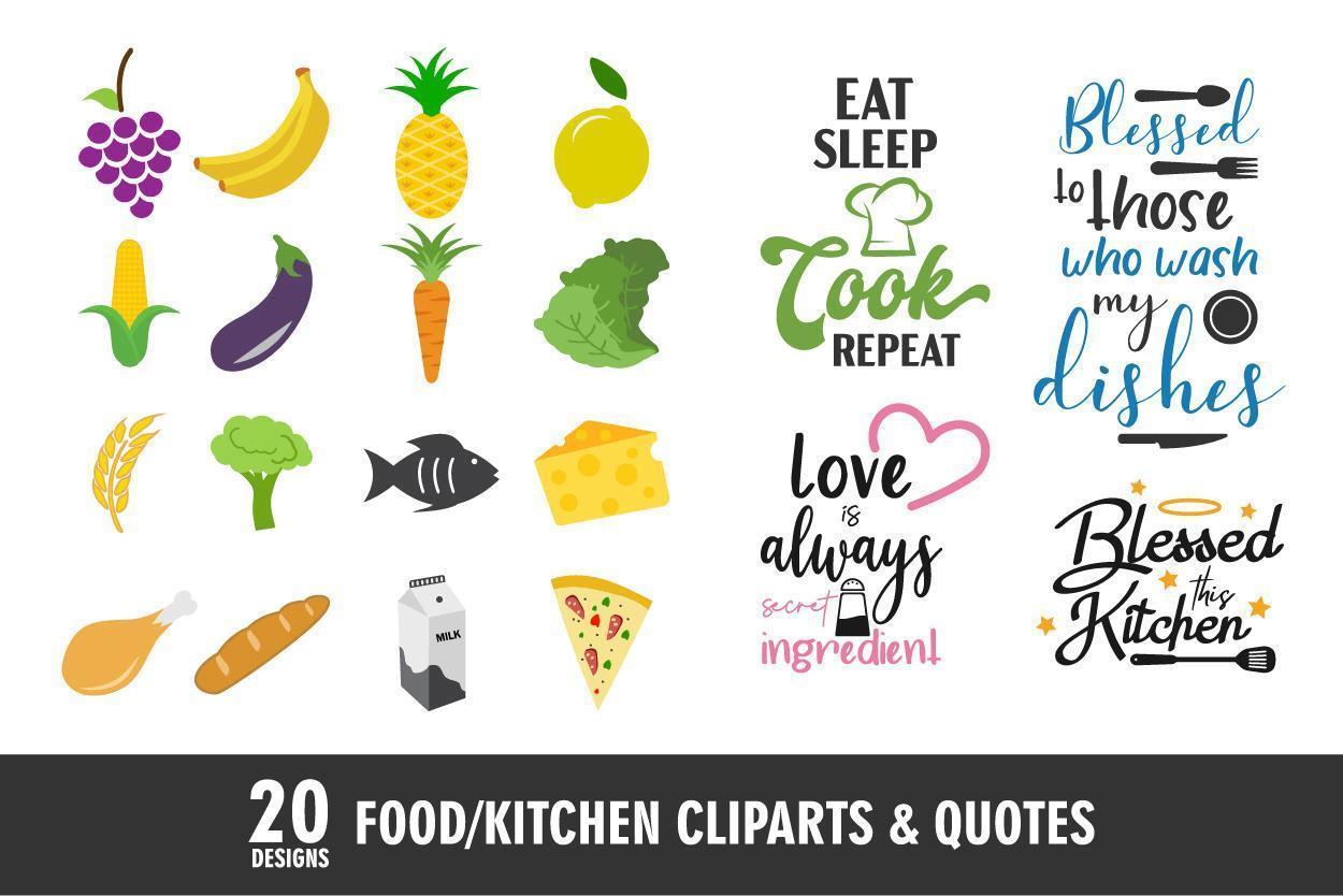 Lebensmittel- und Küchenikonen und Zitate vektor