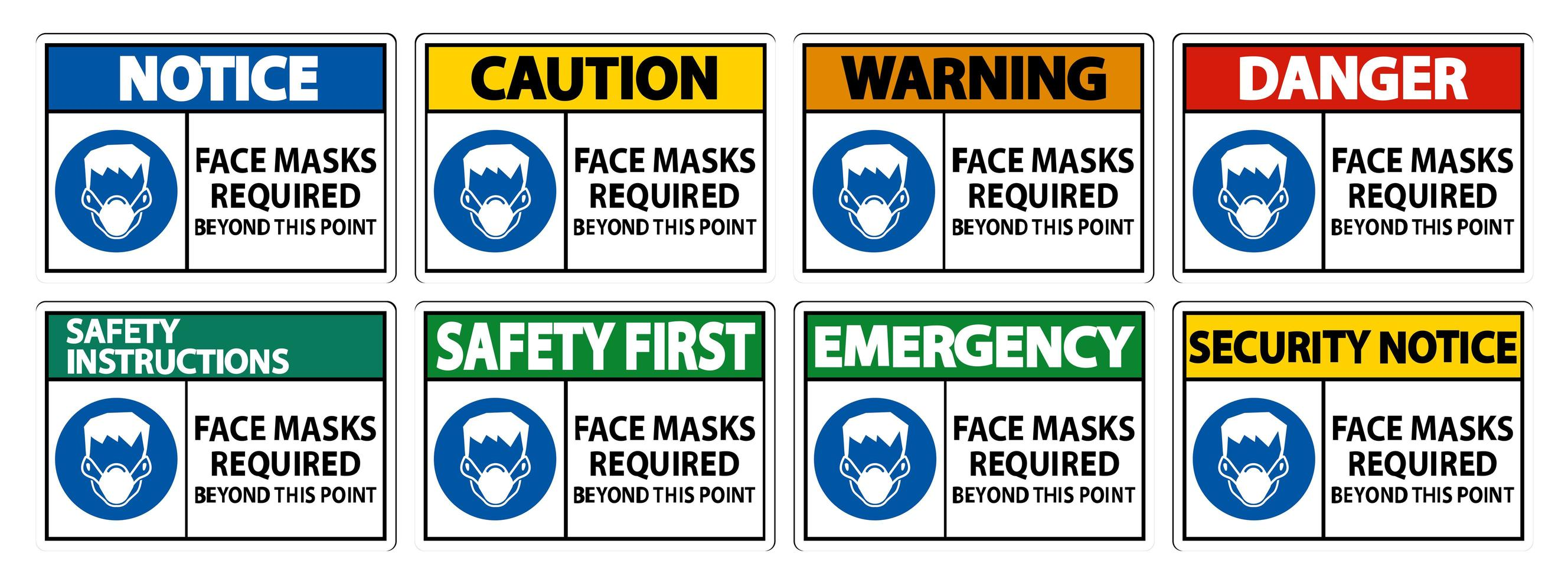 ansiktsmasker som krävs utöver denna punktteckenuppsättning vektor