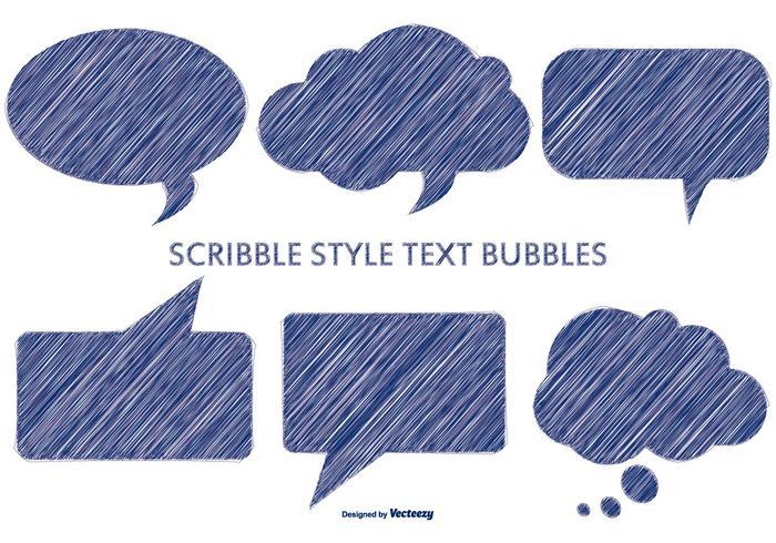 Penna skribbel stil text bubblor vektor