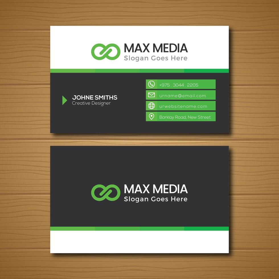 grönt och grått visitkort vektor