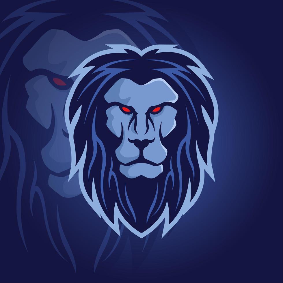 blå lejonhuvud maskotlogotyp vektor