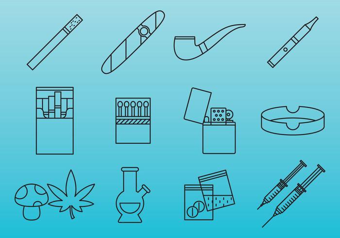 Drogen und Sucht Icons vektor