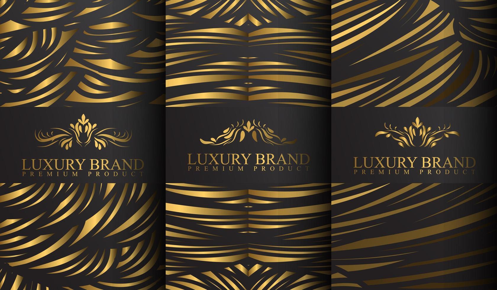 guld- och grå abstrakta randmönster lyxiga etiketter vektor