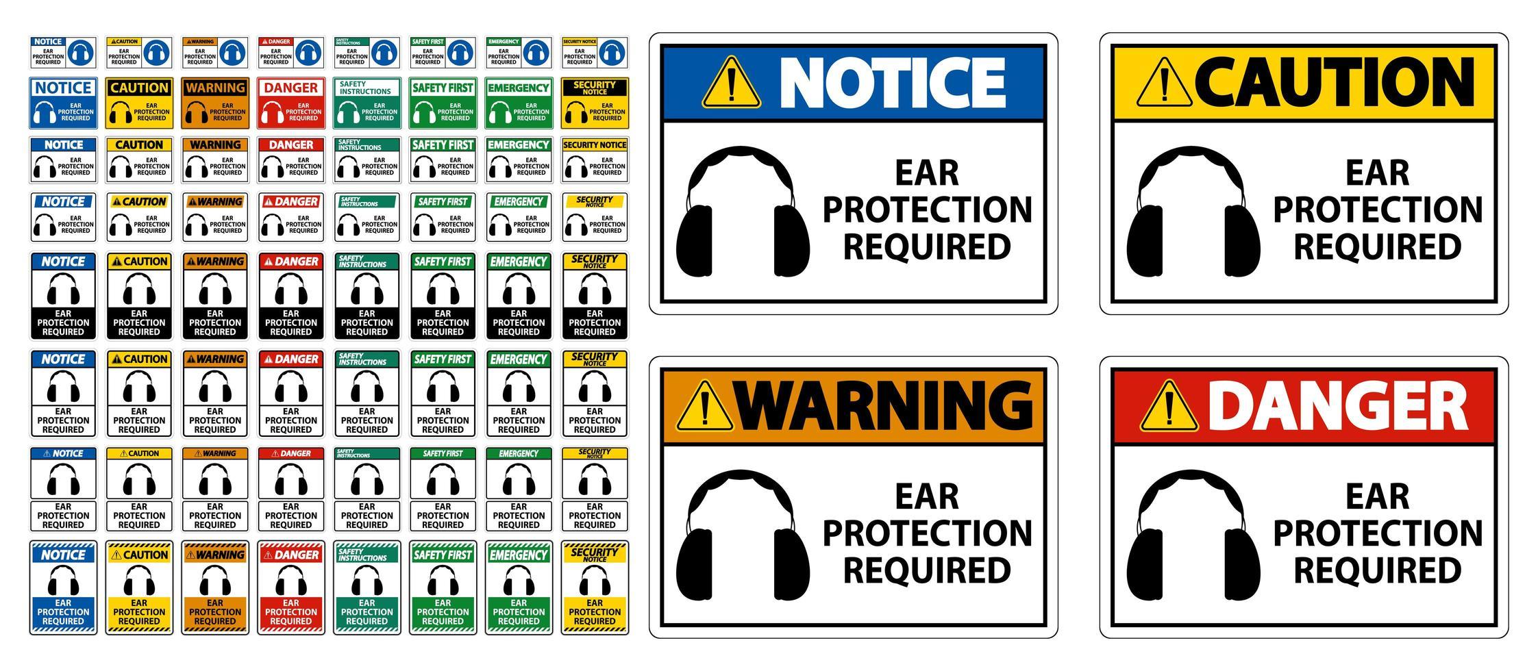 Gehörschutz erforderlich Symbol Zeichensatz vektor