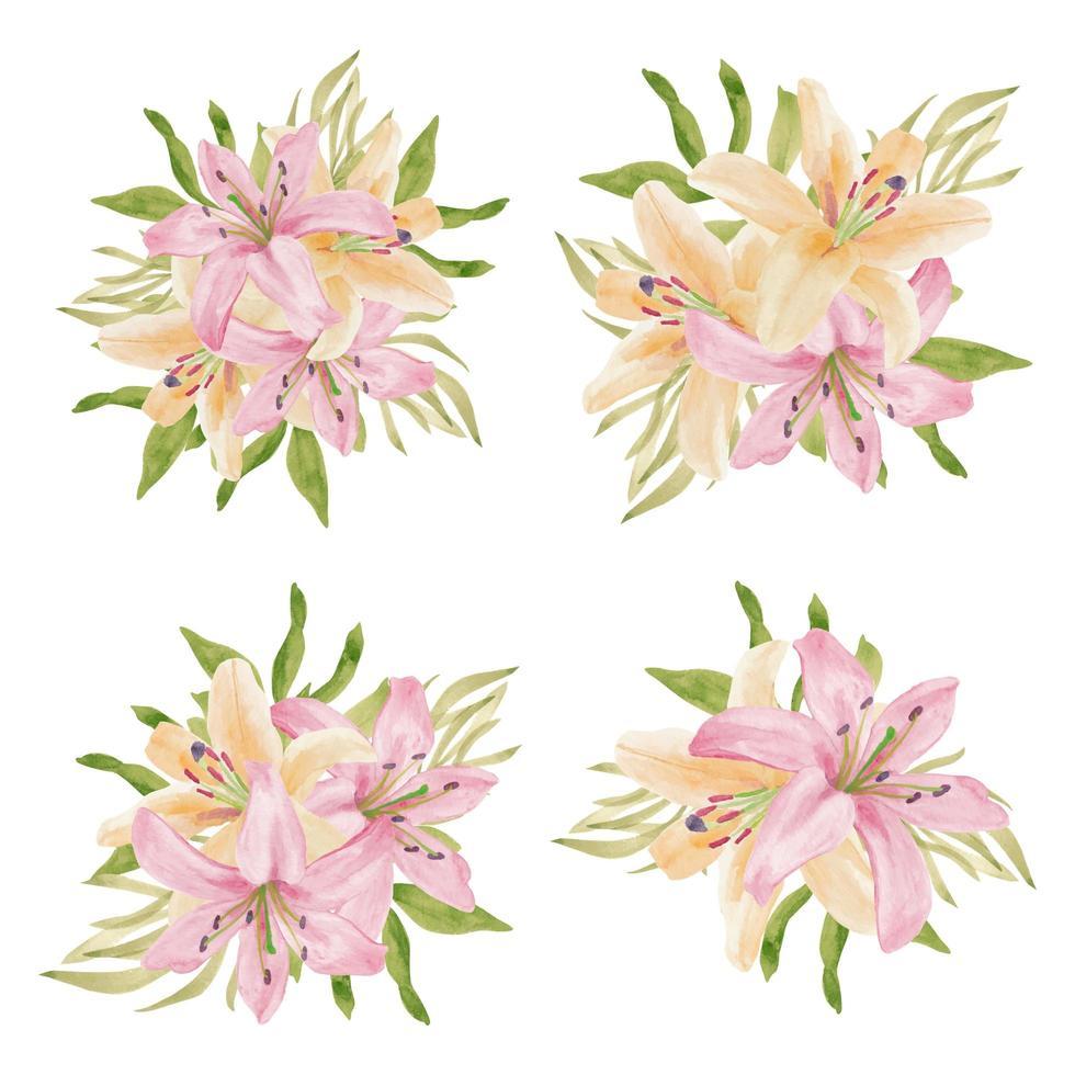tropische Blumenblüten-Sammlung der Aquarelllilie vektor
