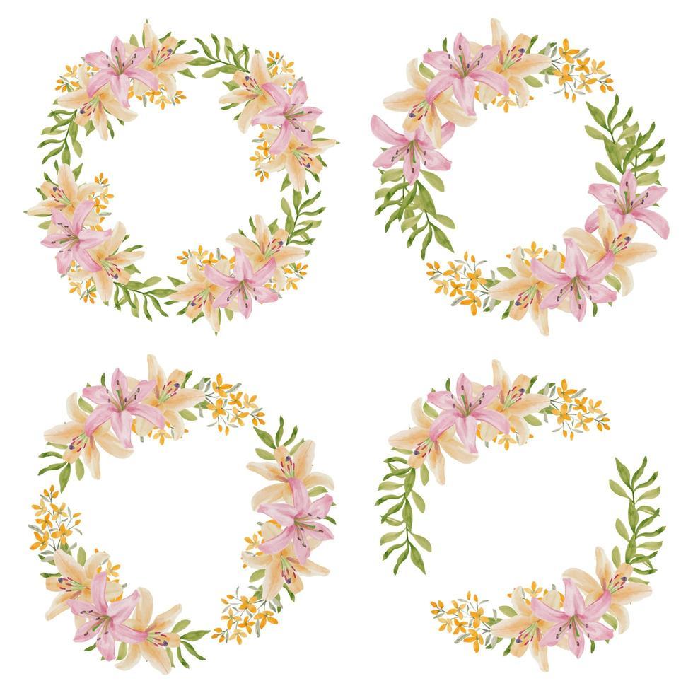 Lilienblumenkranzrahmen im Aquarellstil vektor