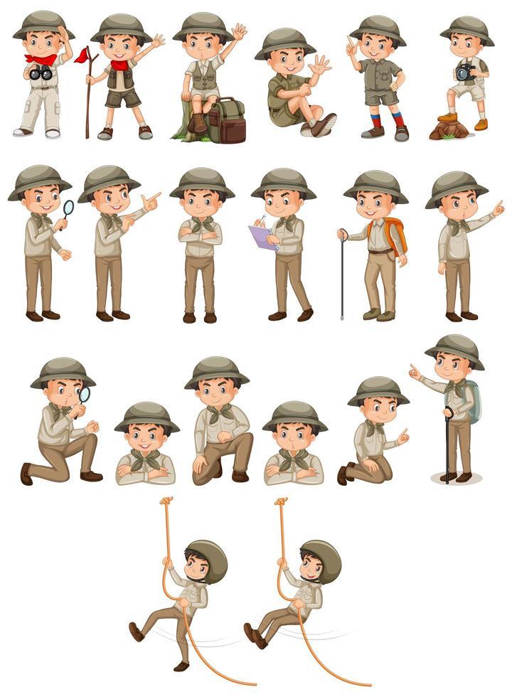 Junge in Safari-Kleidung bei verschiedenen Aktivitäten vektor