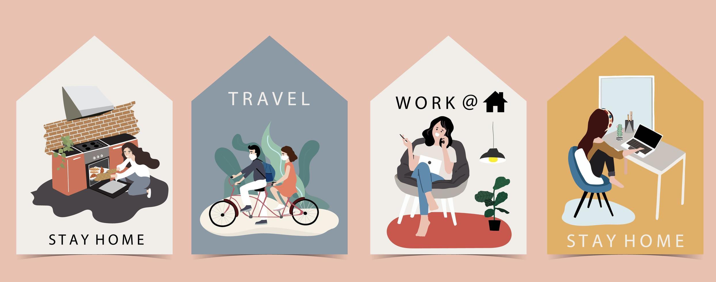 husformade kort med människor som gör karantänaktiviteter vektor