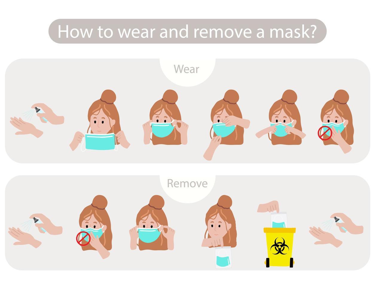 man visar hur man bär och tar bort masken vektor