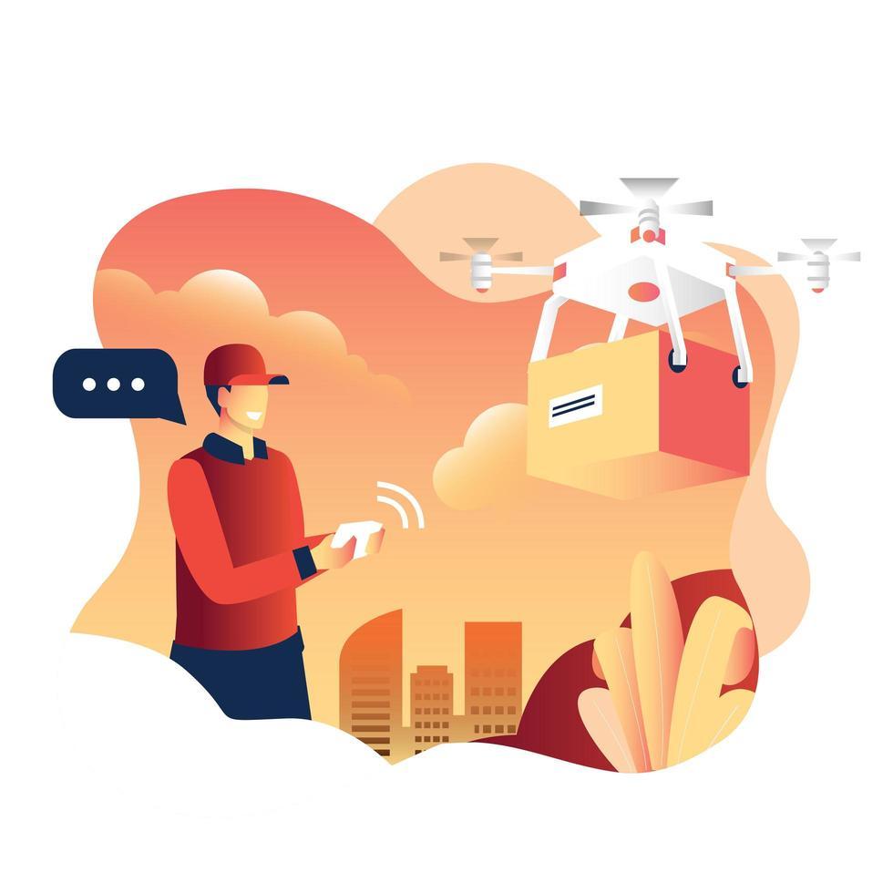 Lieferbote mit Drohne vektor