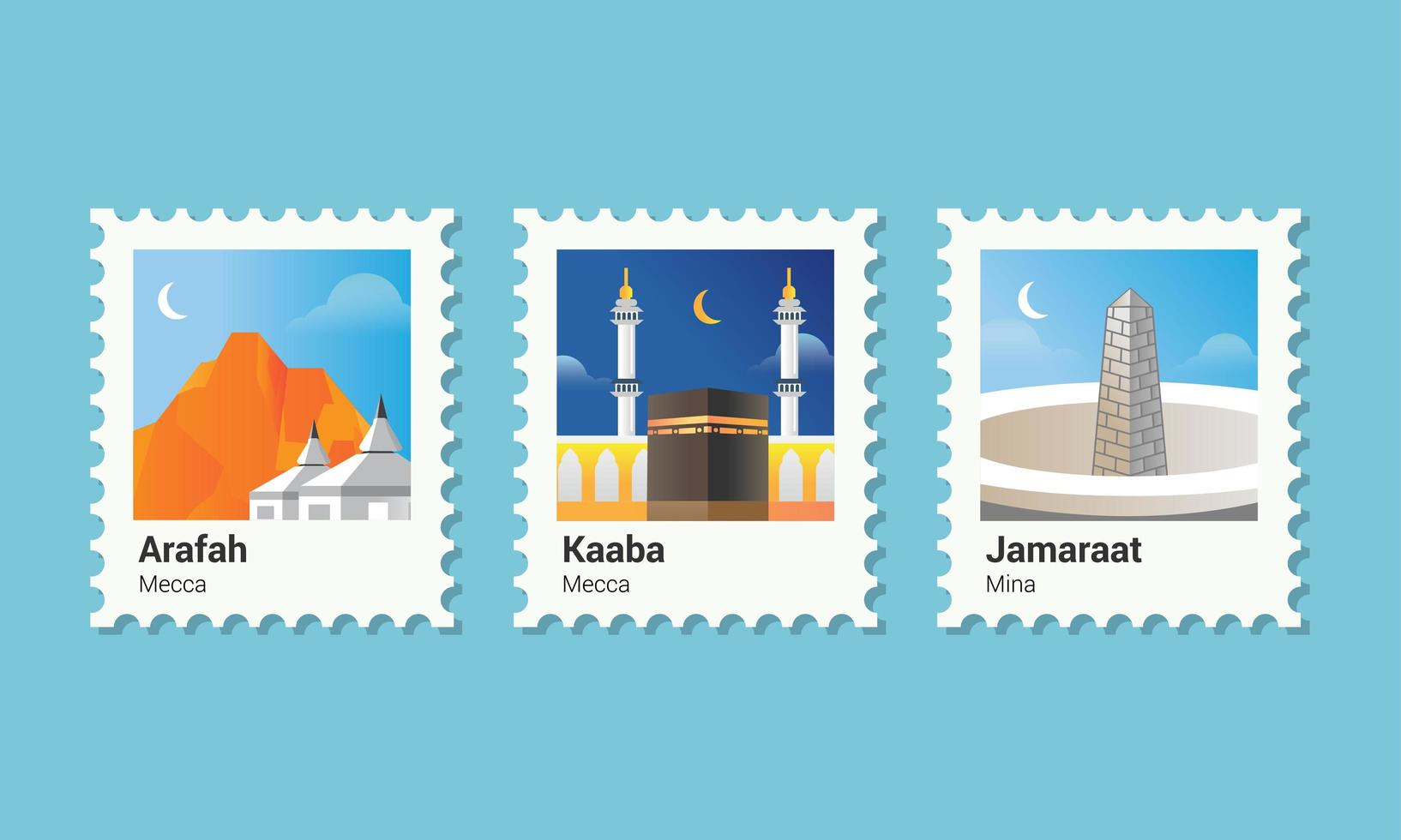 frimärke islamisk pilgrimsfärd vektor