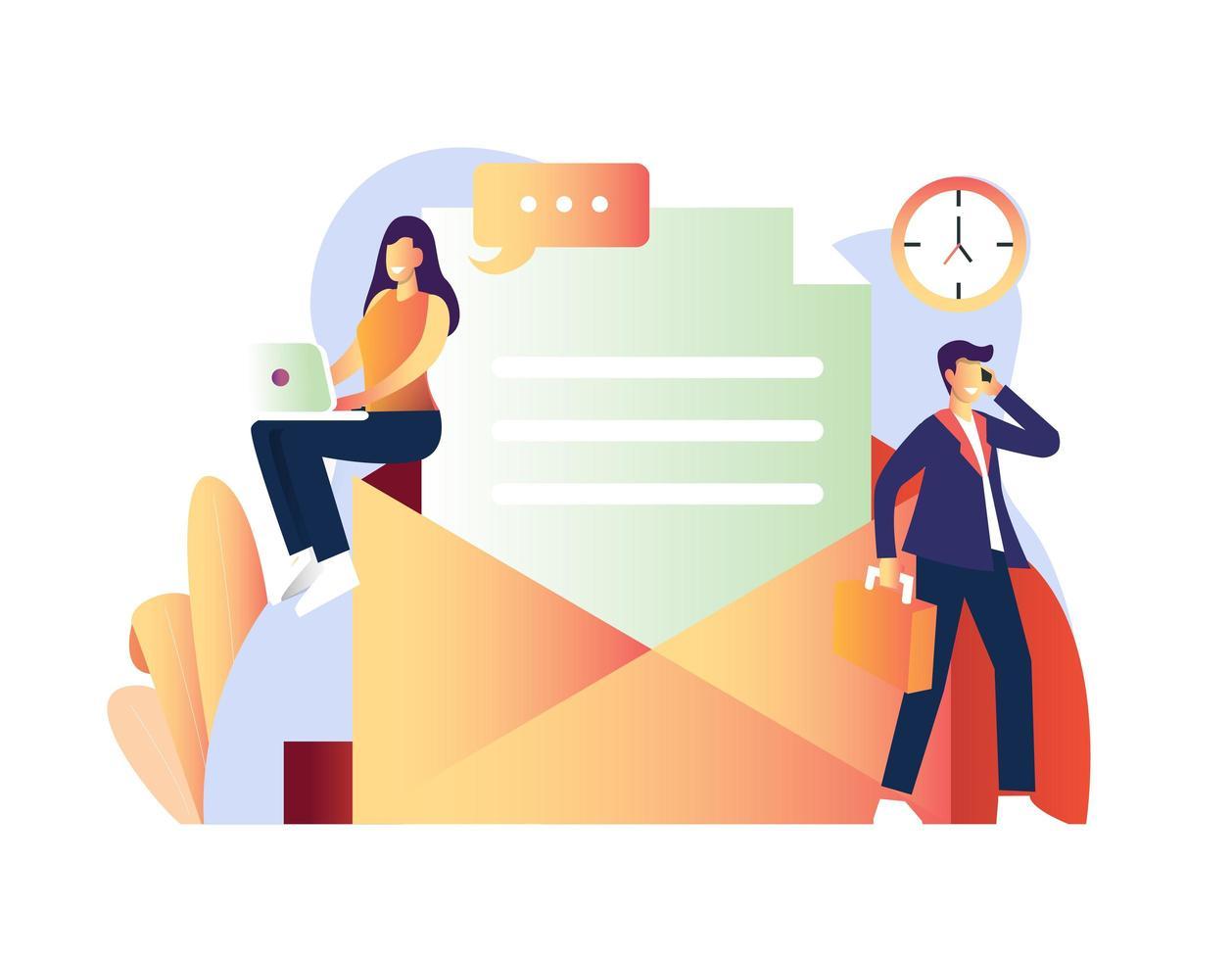 man och kvinna som gör olika affärsaktiviteter vektor