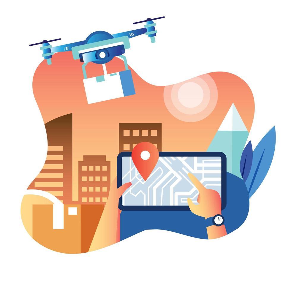 Lieferbote mit Drohne, um Paket zu senden vektor