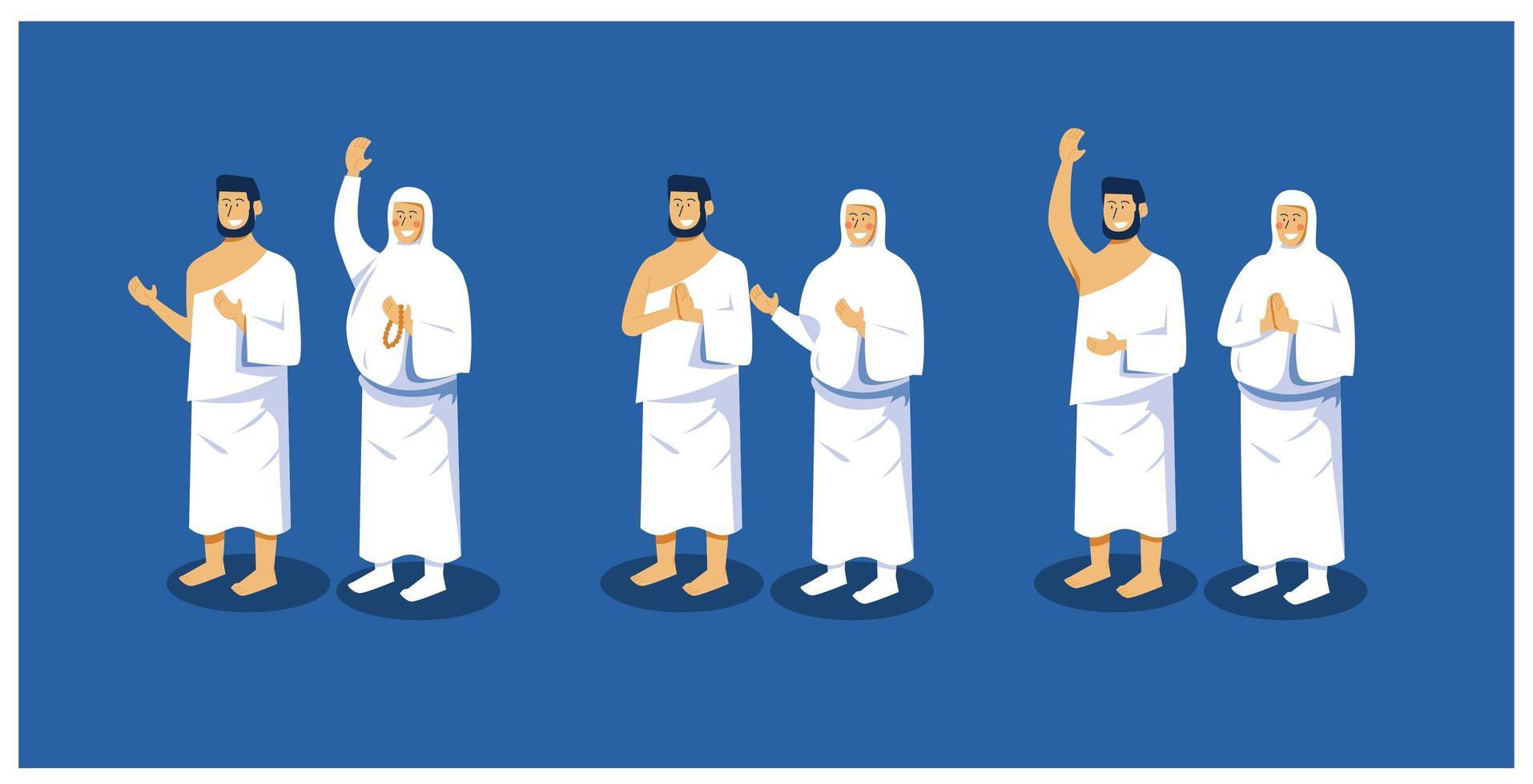 karaktär pose samling för islamiska vektor