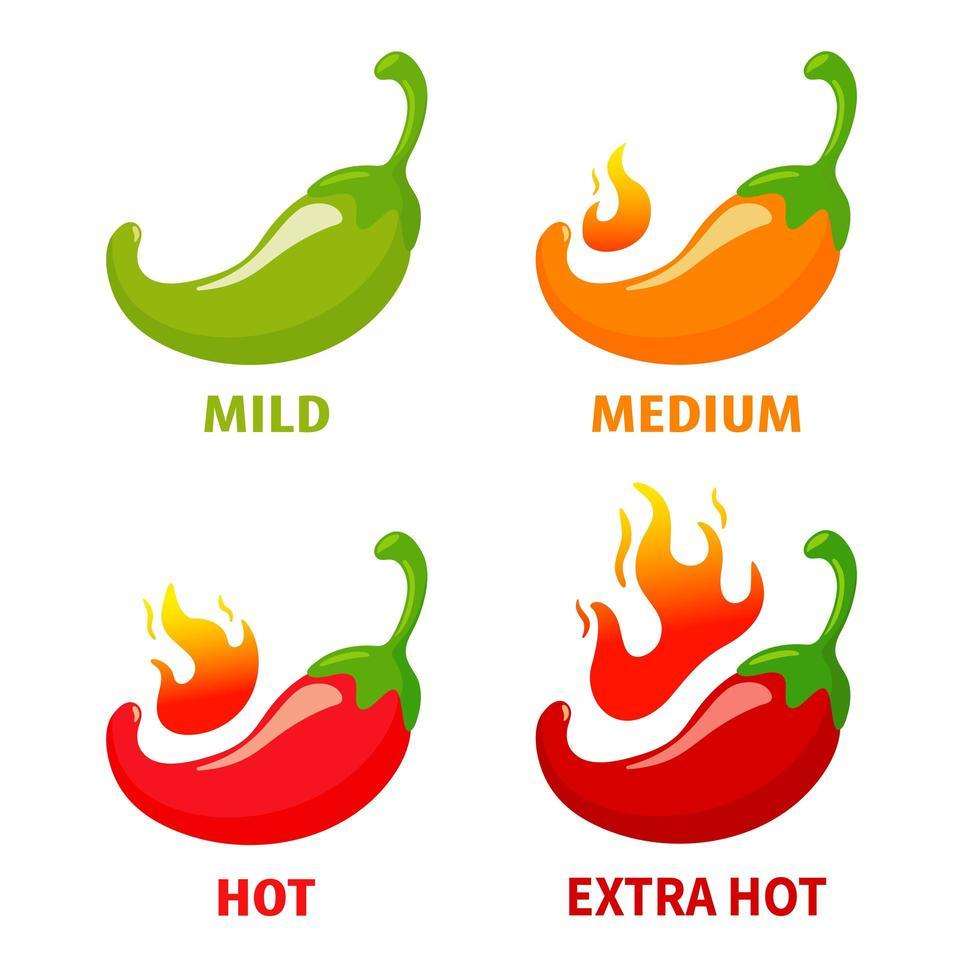 mild till extra varm chilipeppar Ikonuppsättning vektor