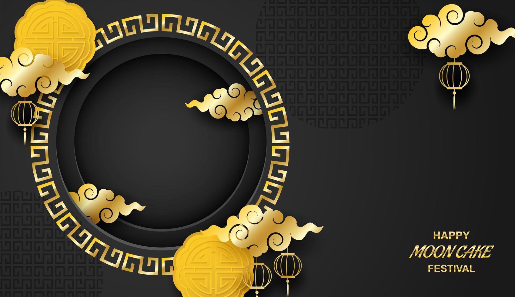Happy Moon Kuchen Festival Hintergrund Vorlage vektor