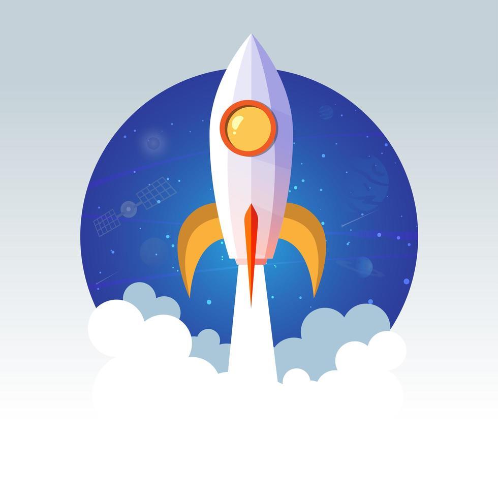 raketfartyg som startar mot cirkulär rymdsram vektor