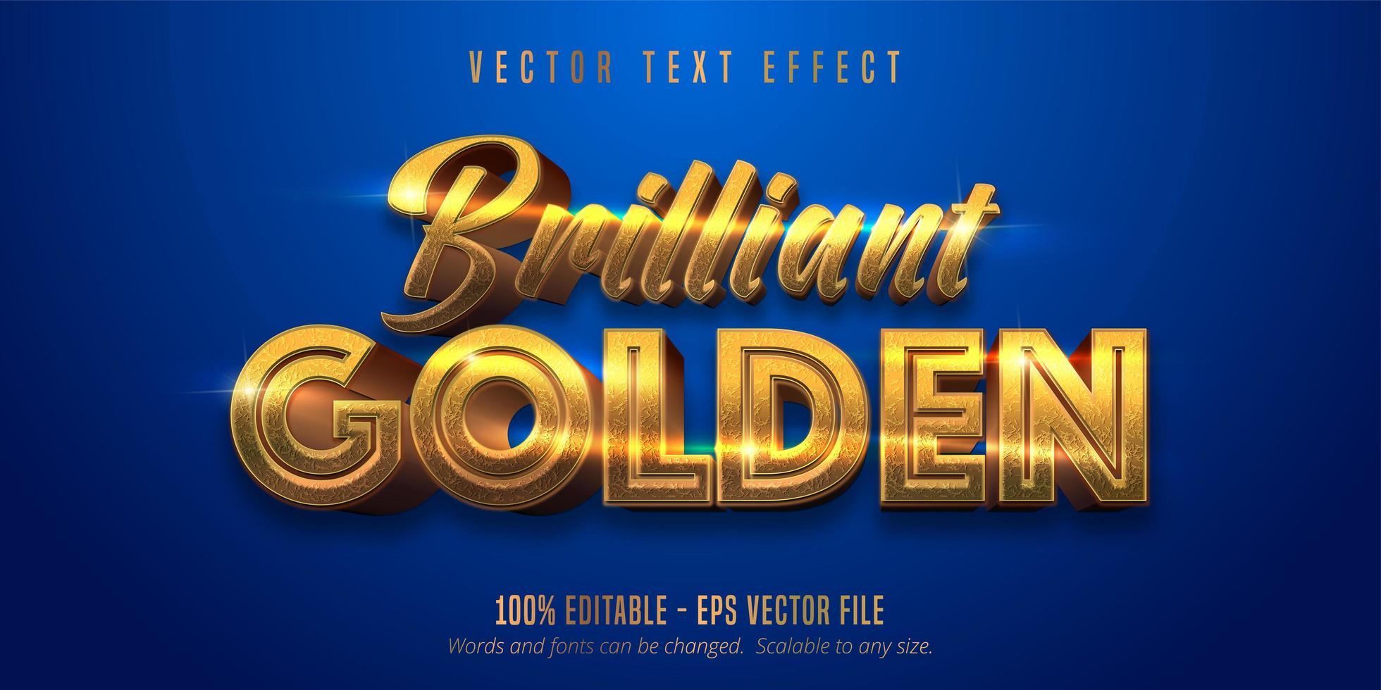 lysande gyllene glänsande guldstrukturerad texteffekt vektor