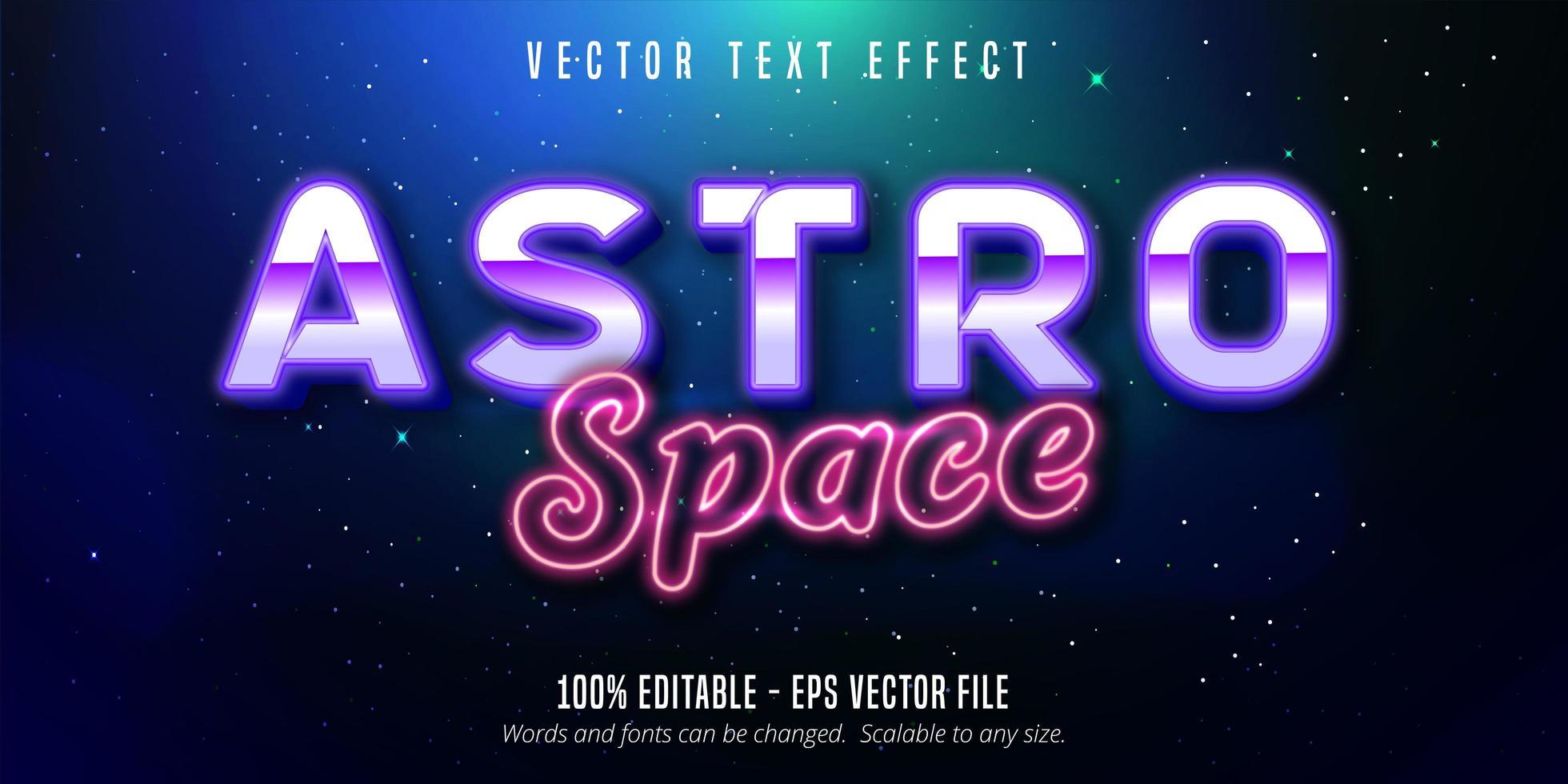 astro utrymme lila och rosa neon stil text effekt vektor
