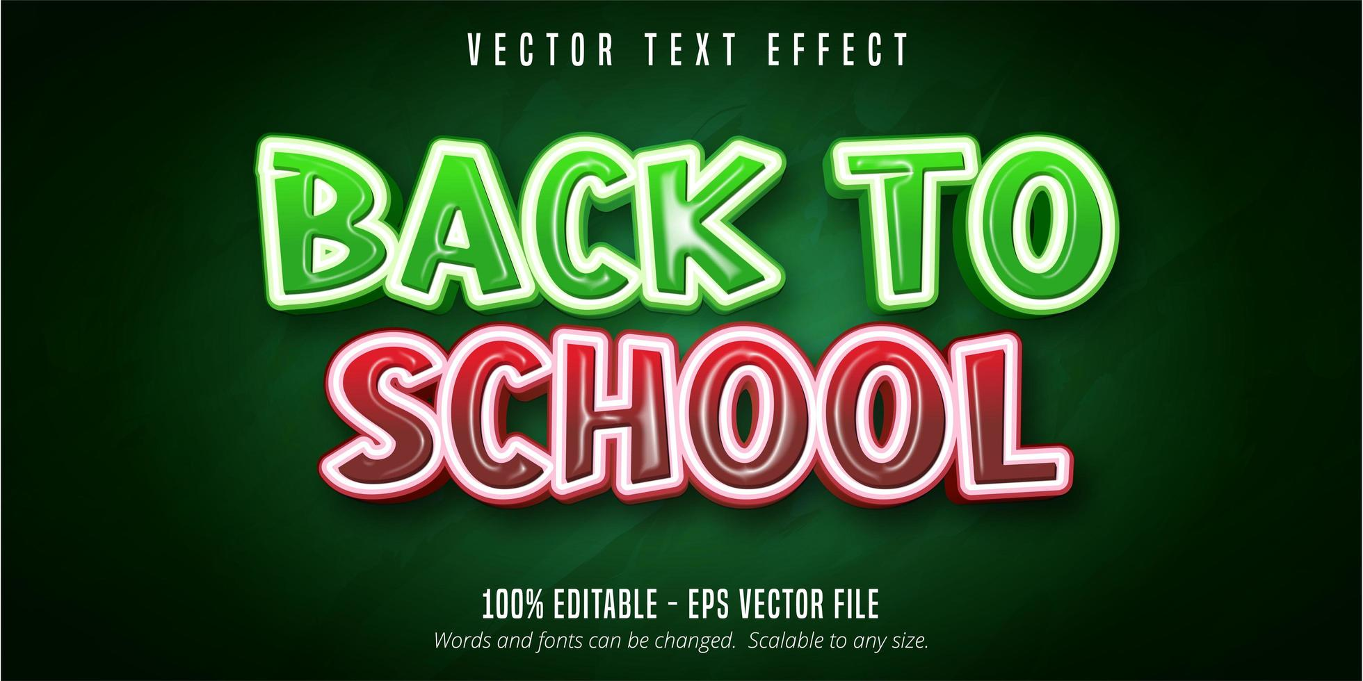 tillbaka till skolan röd och grön glansig texteffekt vektor