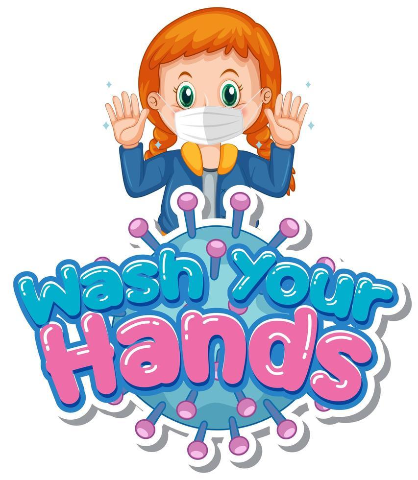 tjej som håller upp händerna med '' tvätta händerna '' text vektor