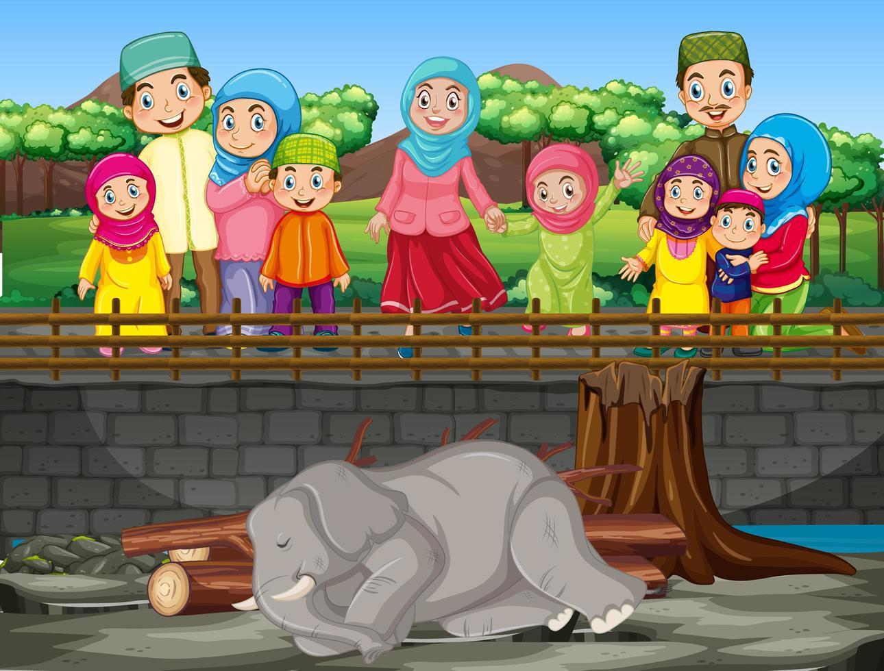 människor som tittar på sovande elefant i djurparken vektor