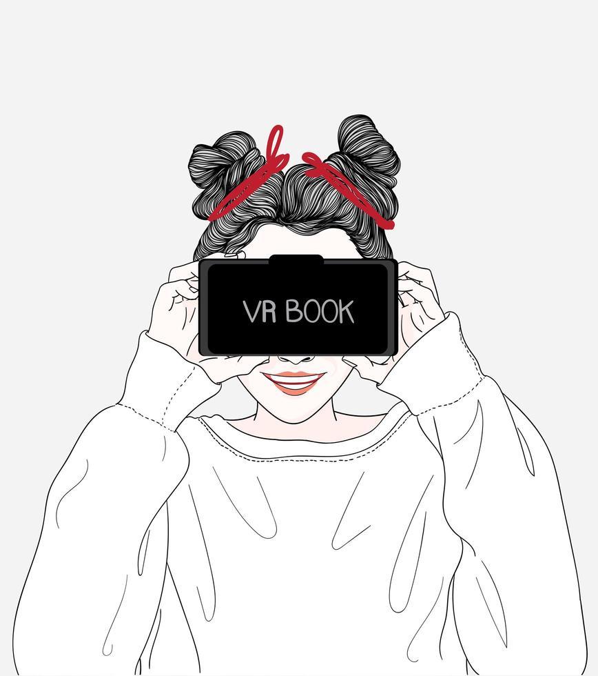 kvinna tittar på filmer genom vr boxglasögon vektor