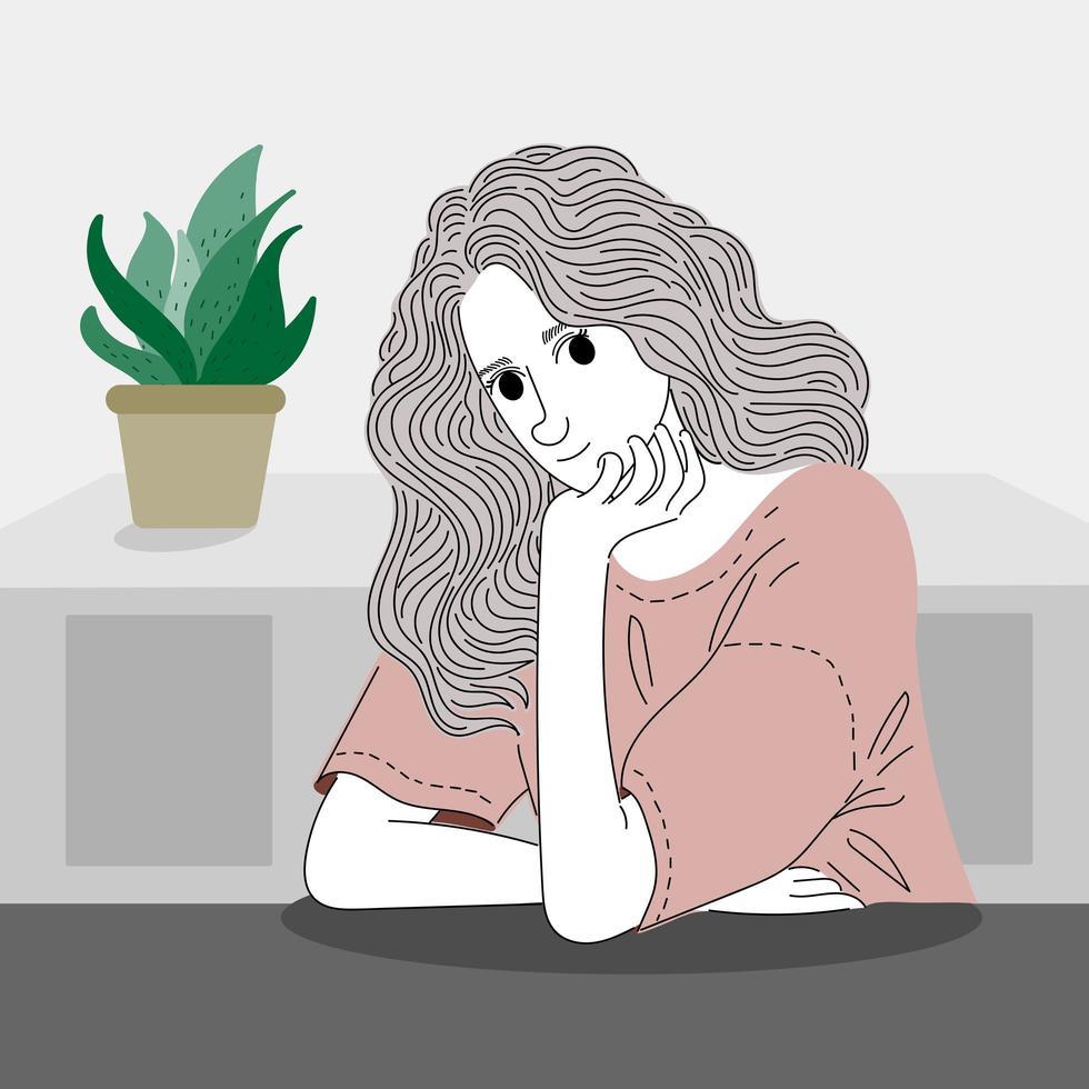 Frau sitzt auf einem Tisch mit Dekorationen im Haus. vektor