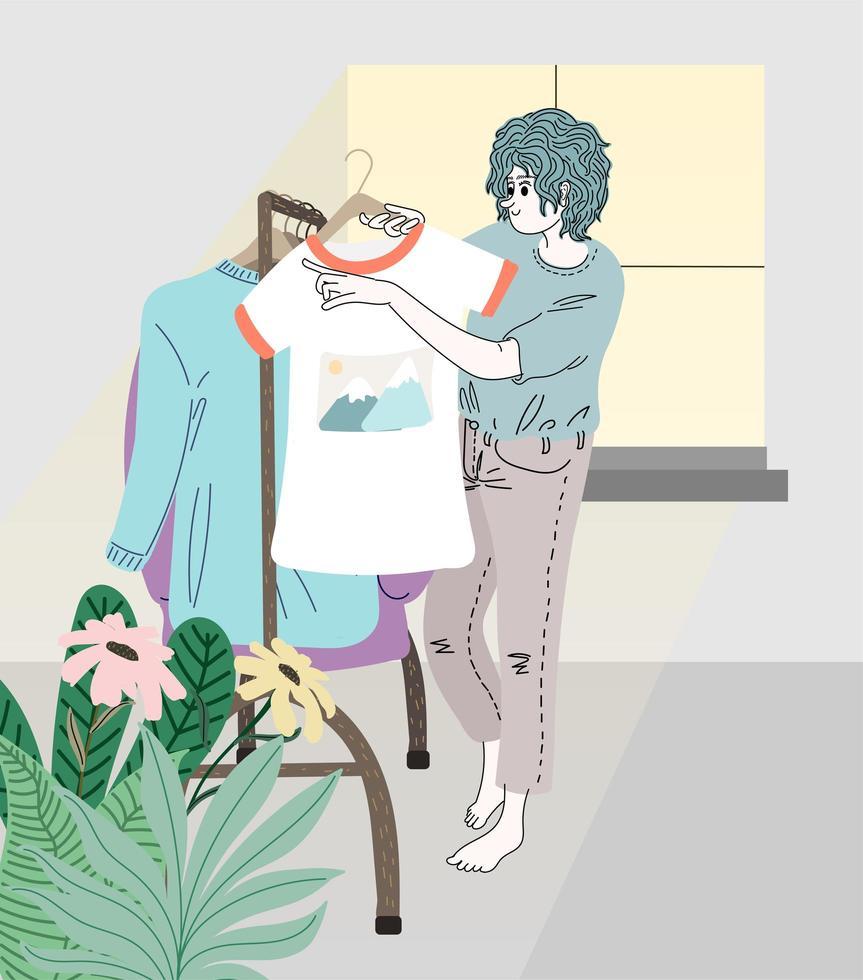 Frauen sortieren Kleidung in der Umkleidekabine vektor