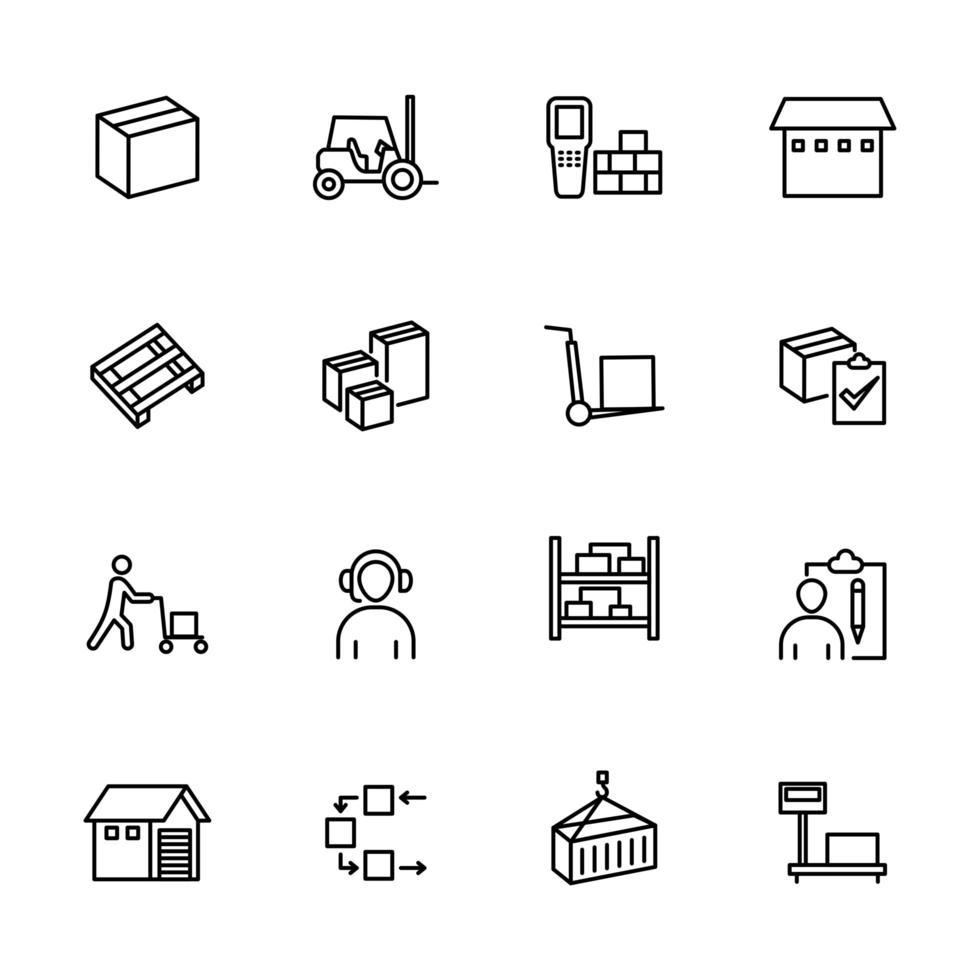 Satz von Liniensymbolen für Großhandelsaktivitäten vektor