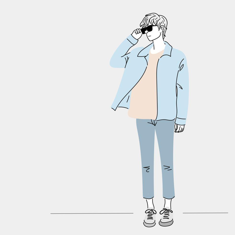 män bär jeansskjorta stående vektor